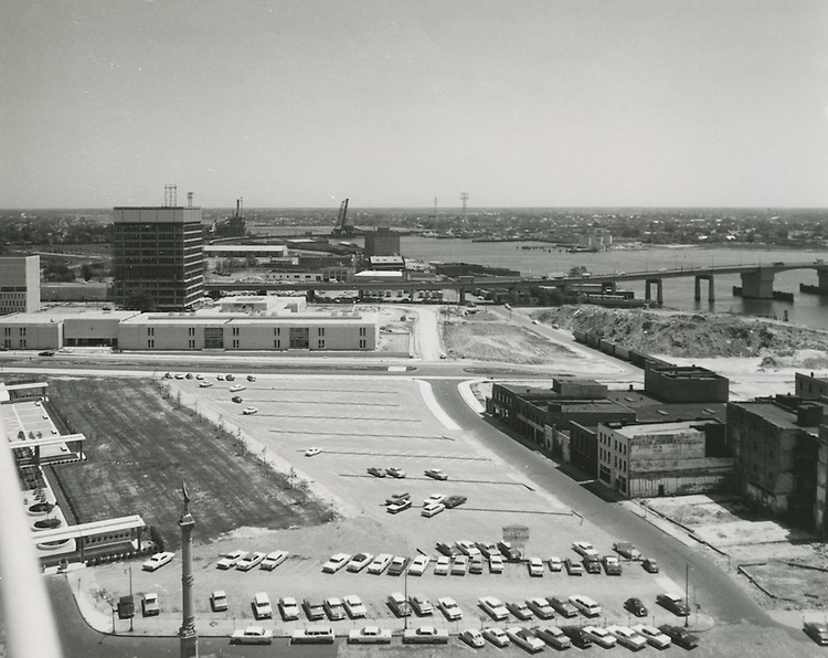 1964 May 05..Redevelopment.Downtown South (R-9)..View looking East to Berkeley Bridge.Commercial Place.Future Norfolk Southern Tower site..HAYCOX - R. V. Fishbeck.NEG#.NRHA#..