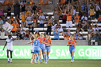 Houston, TX - Saturday July 16, 2016: Kealia Ohai celebrates scoring during a regular season National Women's Soccer League (NWSL) match between the Houston Dash and the Portland Thorns FC at BBVA Compass Stadium.