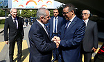 Palestinian Prime Minister Mohammad Ishtayeh meets with Tidros Adhanom, the director-general of the World Health Organization in Geneva, Switzerland, June 12, 2019. Photo by Prime Minister Office
