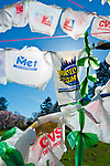 April 21, 2013 - Roslyn Harbor, New York, U.S. - At Celebrate Earth Day at Nassau County Museum of Art, people bring plastic shopping bags to recycle into a Bag Flag, which is a string sculpture piece of art, with artists from NYC art collective Free Style Arts Association. The artwork is seen from below, blowing in the wind.