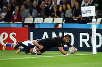 Victor Vito of New Zealand scores a try. Rugby World Cup Pool C match between New Zealand and Namibia on September 24, 2015 at The Stadium, Queen Elizabeth Olympic Park in London, England. Photo by: Patrick Khachfe / Onside Images