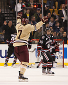 Isaac MacLeod (BC - 7) - The Boston College Eagles defeated the Northeastern University Huskies 6-3 for their fourth consecutive Beanpot championship on Monday, February 11, 2013, at TD Garden in Boston, Massachusetts.