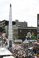 "The ""Giglio"" tower looms large at the annual Feast of Our Lady of Mount Carmel and the Dancing of the Giglio in Brooklyn, NY, on July 13, 2003."