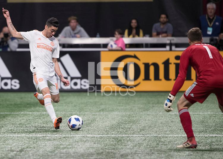 Atlanta, Georgia - April 7, 2018: Atlanta United FC vs Los Angeles FC at Mercedes-Benz Stadium.  Final score Atlanta United 5, Los Angeles FC 0.
