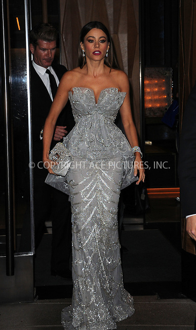 WWW.ACEPIXS.COM . . . . .  ....May 7 2012, New York City....Actress Sofia Vergara leaves her Soho hotel on the way to the Met Gala on May 7 2012 in New York City....Please byline: CURTIS MEANS - ACE PICTURES.... *** ***..Ace Pictures, Inc:  ..Philip Vaughan (212) 243-8787 or (646) 769 0430..e-mail: info@acepixs.com..web: http://www.acepixs.com