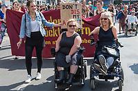 """Pride Parade 2017 in Berlin.<br /> Unter dem Motto """"Behindert und verrueckt feiern"""" zogen am Samstag den 15. Juli 2017 mehrere tausend Menschen durch Berlin.<br /> Sie forderten eine Gesellschaft, die Barrieren abbaut und Menschen nicht als """"krank"""", """"gestoert"""" oder """"nicht normal"""" aussortiert.<br /> 15.7.2017, Berlin<br /> Copyright: Christian-Ditsch.de<br /> [Inhaltsveraendernde Manipulation des Fotos nur nach ausdruecklicher Genehmigung des Fotografen. Vereinbarungen ueber Abtretung von Persoenlichkeitsrechten/Model Release der abgebildeten Person/Personen liegen nicht vor. NO MODEL RELEASE! Nur fuer Redaktionelle Zwecke. Don't publish without copyright Christian-Ditsch.de, Veroeffentlichung nur mit Fotografennennung, sowie gegen Honorar, MwSt. und Beleg. Konto: I N G - D i B a, IBAN DE58500105175400192269, BIC INGDDEFFXXX, Kontakt: post@christian-ditsch.de<br /> Bei der Bearbeitung der Dateiinformationen darf die Urheberkennzeichnung in den EXIF- und  IPTC-Daten nicht entfernt werden, diese sind in digitalen Medien nach §95c UrhG rechtlich geschuetzt. Der Urhebervermerk wird gemaess §13 UrhG verlangt.]"""