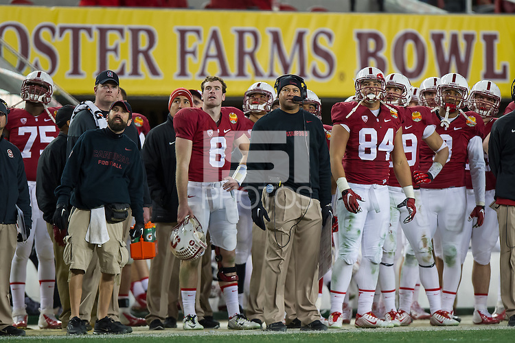 SANTA CLARA, CA - DECEMBER 30, 2014: David Shaw during Stanford's game against Maryland in the 2014 Foster Farms Bowl. The Cardinal defeated the Terrapins 45-21.