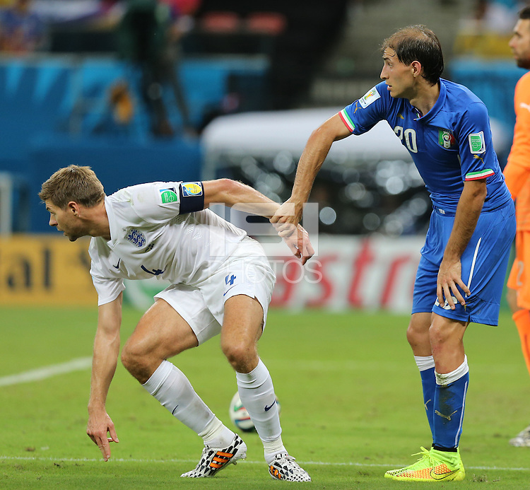 England Captain Steven Gerrard and Ital's Gabriel Paletta