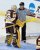 Kenny Reiter (Duluth - 35), Chris Millea - The University of Minnesota-Duluth Bulldogs defeated the Union College Dutchmen 2-0 in their NCAA East Regional Semi-Final on Friday, March 25, 2011, at Webster Bank Arena at Harbor Yard in Bridgeport, Connecticut.