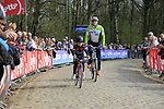 Father and son tackle the famous cobbled climb of Kemmelberg during Gent-Wevelgem in Flanders Fields 2017 running 249km from Denieze to Wevelgem, Flanders, Belgium. 26th March 2017.<br /> Picture: Eoin Clarke | Cyclefile<br /> <br /> <br /> All photos usage must carry mandatory copyright credit (&copy; Cyclefile | Eoin Clarke)