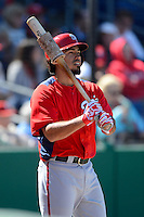 Washington Nationals shortstop Anthony Rendon #6 on deck during a Spring Training game against the Philadelphia Phillies at Bright House Field on March 6, 2013 in Clearwater, Florida.  Philadelphia defeated Washington 6-3.  (Mike Janes/Four Seam Images)
