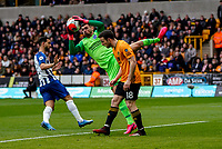 7th March 2020; Molineux Stadium, Wolverhampton, West Midlands, England; English Premier League, Wolverhampton Wanderers versus Brighton and Hove Albion; Matthew Ryan of Brighton & Hove Albion catches the ball ahead of Diogo Jota of Wolverhampton Wanderers