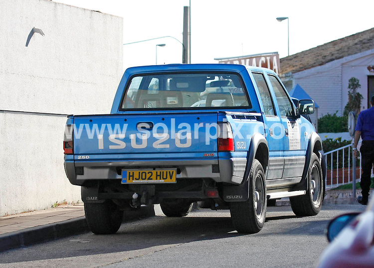 **ALL ROUND EXCLUSIVE PICTURES FROM SOLARPIX.COM**.**WORLDWIDE SYNDICATION RIGHTS**.Pics show wanted paedophile, Peter Weatherley, who is on the run in Spain. He is currently residing in Miraflores, close to Fuengirola and moves frequently to avoid detection. He drives a blue Isuzu 4x4 pick-up truck and works as a builder for O´Neills Construction. Costa del Sol, Spain. 17 May 2010..This pic: Peter Weatherley truck..JOB REF: 11268 AB1       DATE: 17_05_2010.**MUST CREDIT SOLARPIX.COM OR DOUBLE FEE WILL BE CHARGED**.**MUST AGREE FEE BEFORE ONLINE USAGE**.**CALL US ON: +34 952 811 768 or LOW RATE FROM UK 0844 617 7637**