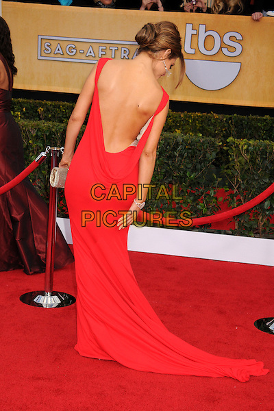 Maria Menounos.Arrivals at the 19th Annual Screen Actors Guild Awards at the Shrine Auditorium in Los Angeles, California, USA..27th January 2013.SAG SAGs full length red dress backless back behind rear looking down train  .CAP/ADM/BP.©Byron Purvis/AdMedia/Capital Pictures
