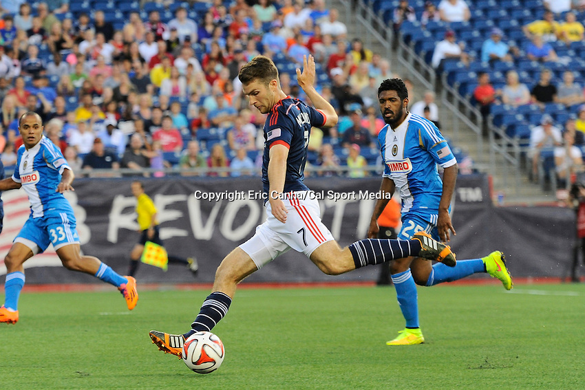 June 28, 2014 - Foxborough, Massachusetts, U.S. - New England Revolution forward Patrick Mullins (7) controls the ball during the MLS game between the Philadelphia Union and the New England Revolution held at Gillette Stadium in Foxborough Massachusetts.  Philadelphia defeated New England 3-1.  Eric Canha/CSM