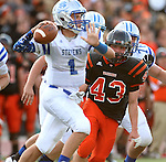 SIOUX FALLS, SD - SEPTEMBER 19: Josh Thomas #43 from Washington pursues Austin Hagen #1 from Rapid City Stevens in the first quarter of their game Friday night at Howard Wood Field.  (Photo by Dave Eggen/Inertia)