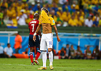 Neymar of Brazil puts his shirt over his face after a missed chance