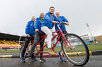 Picture by Allan McKenzie/SWpix.com - 04/04/2018 - Rubgy League - RL Cares Ride to Wembley - Provident Stadium, Bradford, England - Andy Lynch, Chev Walker, Robbie Hunter-Paul and Keith Senior on one of the tandems to be used in the RL Cares Ride to Wembley.