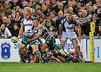 Leicester, England. Sam Harrison of Leicester Tigers clears the ball during the Aviva Premiership match between Leicester Tigers and Harlequins at Welford Road on September 22, 2012 in Leicester, England.