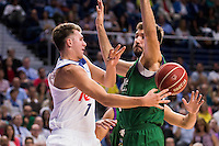 Real Madrid's player Luka Doncic and Unicaja Malaga's player Dejan Musli during match of Liga Endesa at Barclaycard Center in Madrid. September 30, Spain. 2016. (ALTERPHOTOS/BorjaB.Hojas) /NORTEPHOTO