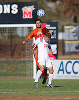 Jed Prater (9) of Virginia Tech wins the header over Alex Martinez (15) of North Carolina State during the game at Ludwig Field in College Park, MD. Virginia Tech defeated North Carolina State, 3-2, in the ACC tournament play-in game.