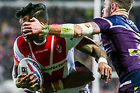 Picture by Alex Whitehead/SWpix.com - 16/03/2018 - Rugby League - Betfred Super League - St Helens v Leeds Rhinos - Totally Wicked Stadium, St Helens, England - St Helens' Ben Barba is tackled by Leeds' Richie Myler and Kallum Watkins.