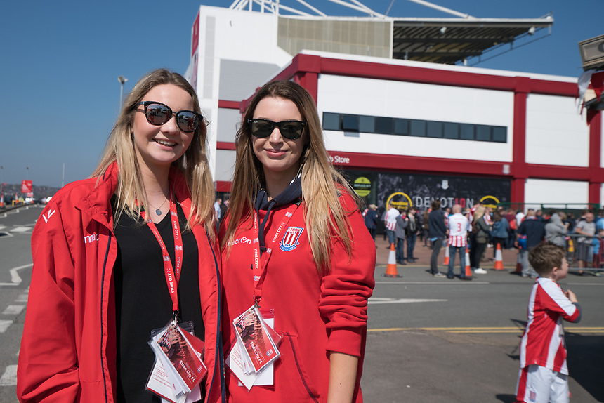 Fans at  the Britannia Stadium, home of Stoke City<br /> <br /> Photographer Terry Donnelly/CameraSport<br /> <br /> The Premier League - Stoke City v Liverpool - Saturday 8th April 2017 - bet365 Stadium - Stoke-on-Trent<br /> <br /> World Copyright &copy; 2017 CameraSport. All rights reserved. 43 Linden Ave. Countesthorpe. Leicester. England. LE8 5PG - Tel: +44 (0) 116 277 4147 - admin@camerasport.com - www.camerasport.com