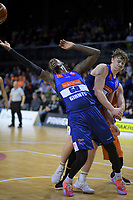 Jerry Evans Jr (Giants) reaches for a rebound during the national basketball league semifinal match between Nelson Giants and Southland Sharks at TSB Bank Arena in Wellington, New Zealand on Saturday, 4 August 2018. Photo: Dave Lintott / lintottphoto.co.nz