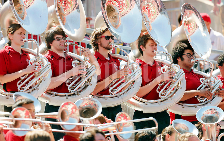 The Ohio State University marching band performs in the south stands during the Spring Game at Ohio Stadium in Columbus on Saturday, April 16, 2016. (Barbara J. Perenic/The Columbus Dispatch)