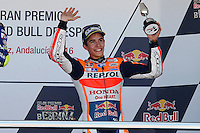 Marc Marquez  in MotoGP podium in Motorcycle Championship GP, in Jerez, Spain. April 24, 2016