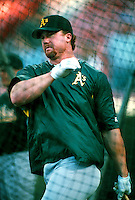 Mark McGwire of the Oakland Athletics during a game at Anaheim Stadium in Anaheim, California during the 1997 season.(Larry Goren/Four Seam Images)