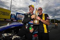 Sep 18, 2016; Concord, NC, USA; NHRA pro stock driver Jason Line celebrates after winning the Carolina Nationals at zMax Dragway. Mandatory Credit: Mark J. Rebilas-USA TODAY Sports