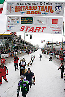 Gerry Willomitzer leaves the start line in Anchorage on Saturday March 1st during the ceremonial start day of the 2008 Iidtarod Sled Dog Race.