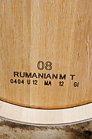 barrel with stamp rumanian chateau reysson haut medoc bordeaux france