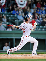Outfielder Cody Koback (16) of the Greenville Drive in a game against the Charleston RiverDogs on Opening Day, Friday, April 5, 2013, at Fluor Field at the West End in Greenville, South Carolina. (Tom Priddy/Four Seam Images)