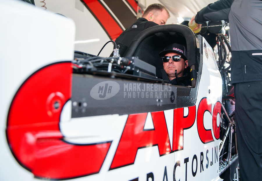 Apr 14, 2019; Baytown, TX, USA; NHRA top fuel driver Steve Torrence during the Springnationals at Houston Raceway Park. Mandatory Credit: Mark J. Rebilas-USA TODAY Sports