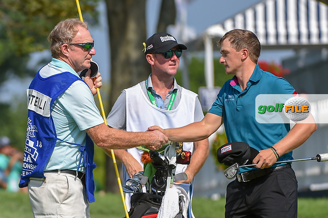 Paul Dunne (IRE) shakes hands following 2nd round of the 100th PGA Championship at Bellerive Country Club, St. Louis, Missouri. 8/11/2018.<br /> Picture: Golffile   Ken Murray<br /> <br /> All photo usage must carry mandatory copyright credit (© Golffile   Ken Murray)