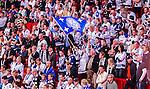 Stockholm 2014-09-17 Ishockey SHL Djurg&aring;rdens IF - Leksands IF :  <br /> Leksands supportrar med en flagga under matchen mellan Djurg&aring;rden och Leksand<br /> (Foto: Kenta J&ouml;nsson) Nyckelord:  Djurg&aring;rden DIF Hockey Globen Ericsson Globe Arena SHL Leksand LIF supporter fans publik supporters