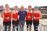 The Sneem Senior ladies on a winning run at the Cahersiveen Regatta on Sunday pictured here l-r; Caroline Clifford, Lorna Cooper, Mike O;'Shea(Cox), Geraldine Breen & Lyndsey Hill.