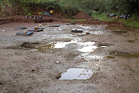 SAVEOCK WATER, CORNWALL, ENGLAND - AUGUST 03: A general view of Mesolithic clay platform with votive pits cut into it on August 3, 2008 in Saveock Water, Cornwall, England. The excavations here are led by archaeologist Jacqui Wood. (Photo by Manuel Cohen)