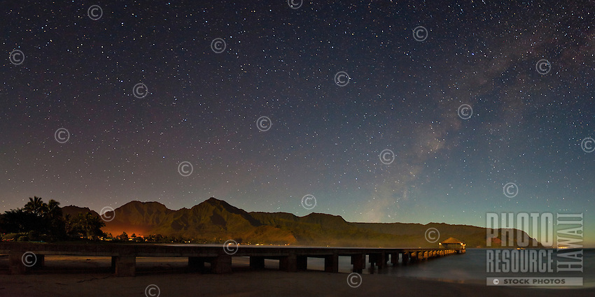 Brilliant starry sky complete with Milky Way above Hanalei Bay, Kauai