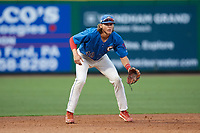 Clearwater Threshers third baseman Alec Bohm (40) during a Florida State League game against the Lakeland Flying Tigers on May 14, 2019 at Spectrum Field in Clearwater, Florida.  Clearwater defeated Lakeland 6-3.  (Mike Janes/Four Seam Images)