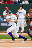 Mark Haddow (21) of the Winston-Salem Dash follows through on his swing against the Frederick Keys at BB&T Ballpark on May 27, 2013 in Winston-Salem, North Carolina.  The Keys defeated the Dash 8-4.  (Brian Westerholt/Four Seam Images)