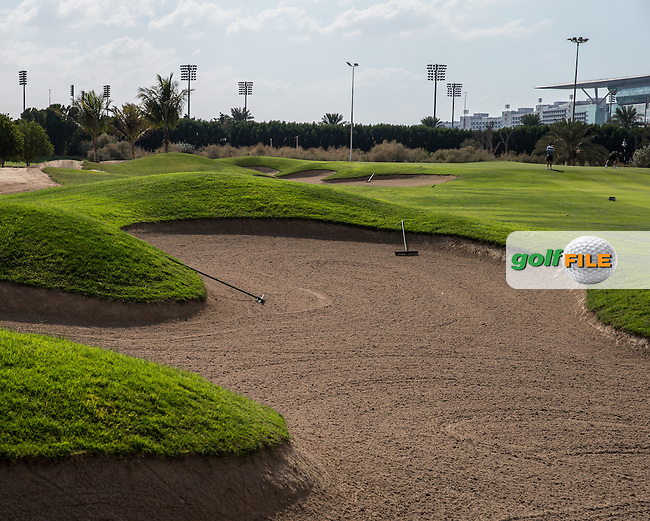 5th fairway bunker, The Track at The Meydan Golf Club, Dubai, United Arab Emirates.  31/01/2016. Picture: Golffile | David Lloyd<br /> <br /> All photos usage must carry mandatory copyright credit (&copy; Golffile | David Lloyd)