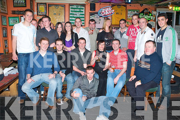 21ST BIRTHDAY: Tommy Griffin, Ballyard (seated 3rd left) enjoying a great time celebrating his 21st birthday with family and friends at Huddle bar on Friday..   Copyright Kerry's Eye 2008