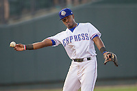 Round Rock Express shortstop Yeyson Yrizarri (60) makes a throw to second base during the Pacific Coast League baseball game against the Oklahoma City Dodgers on June 9, 2015 at the Dell Diamond in Round Rock, Texas. The Dodgers defeated the Express 6-3. (Andrew Woolley/Four Seam Images)