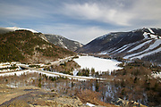 Franconia Notch State Park from Artists Bluff in the White Mountains, New Hampshire USA.