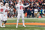 Wisconsin Badgers kicker Rafael Gaglianone celebrates a 52 yard field goal during an NCAA College Big Ten Conference football game against the Illinois Fighting Illini Saturday, October 28, 2017, in Champaign, Illinois. The Badgers won 24-10. (Photo by David Stluka)