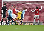 16/04/2018 Arsenal v Blackpool FAYC Semi 2L<br /> <br /> Danny Ballard heads Arsenal's second goal
