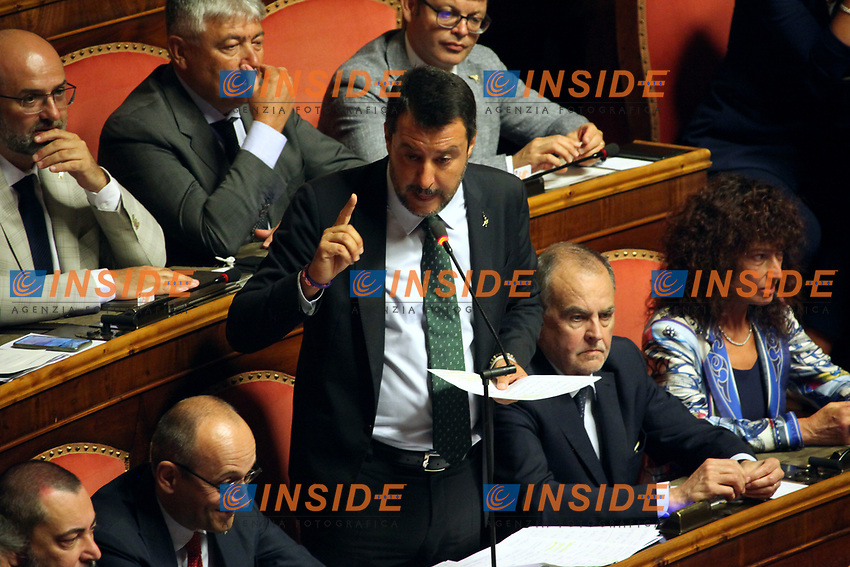 Matteo Salvini<br /> Rome August 20th 2019. Senate. Speech of the Prime Minister about the crisis of Government. Just after the speech the Premier went to the President of the Republic to resign<br /> Foto  Insidefoto